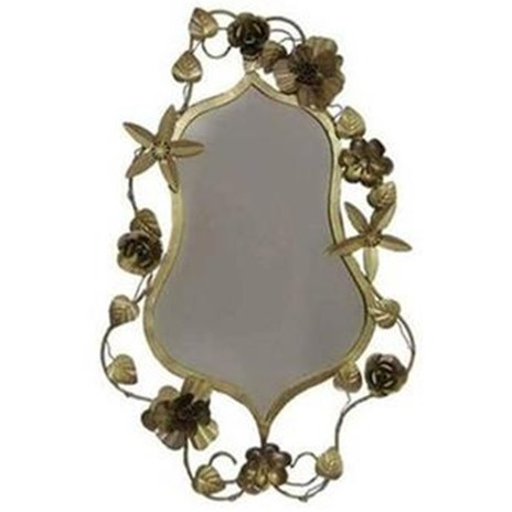 Vintage Mirror with Gold Corsage Flowers