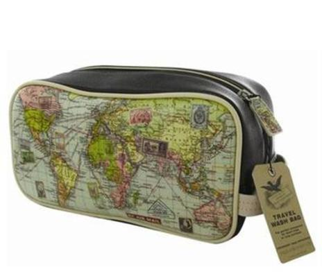 Mens Map Wash Bag