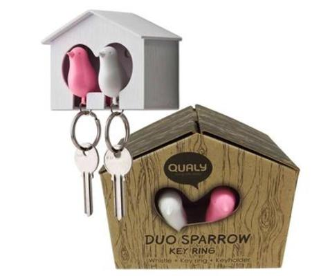 Duo Sparrow Keyrings Pink