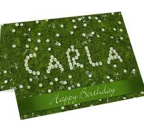 Click to enlarge - Personalised Daisy in Grass Card