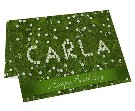 Personalised Daisy in Grass Card