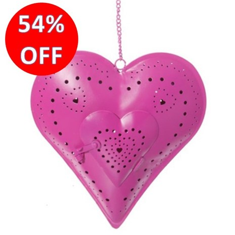 Pink Hanging Tea Light Heart