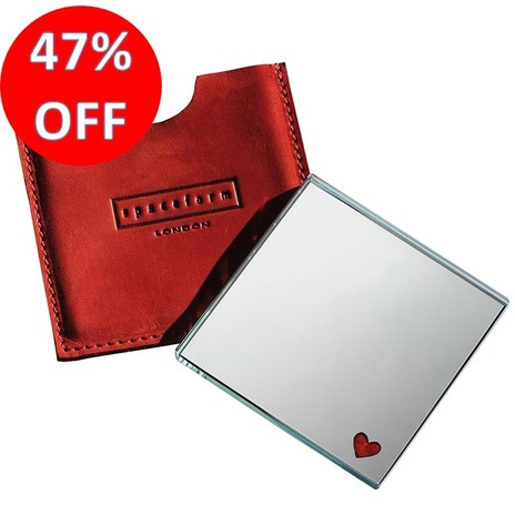 Spaceform Pocket Mirror Red Heart (suede pocket)