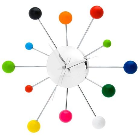 Retro Wall Clock, Multi Coloured Spider